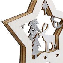 Drewniana gwiazda z motywem do zawieszenia 15cm 3szt