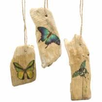Wisiorek driftwood z motylem 8-13cm 36szt