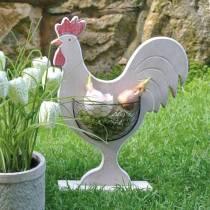 Kogut drewniany z koszyczkiem, dekoracja wielkanocna, figurka drewniana do sadzenia, dekoracja wiosenna, kurczak ozdobny