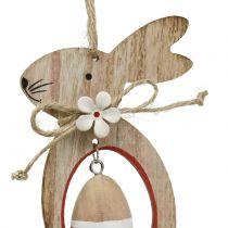 Wiszące drewniane zajączki wielkanocne z pisankami 12cm - 14,5cm 4szt.