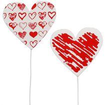 Serce drewniane na patyku 7cm x 7cm Białe, Czerwone 12szt.