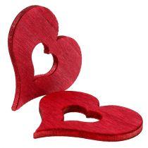 Serca drewniane do rozsypania czerwone 4cm 72szt.