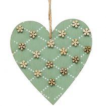 Drewniane serce do powieszenia zielone / naturalne 10 cm 4szt