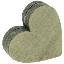 Drewniane serduszka szary / czerwony / zielony 3-6.5 cm 8szt