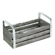 Drewniane pudełko szare 20cm x 9cm H6cm z uchwytami