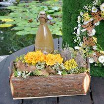 Drewniana skrzynka do sadzenia roślin, doniczka z uchwytami, skrzynka na kwiaty z korą 45,5cm