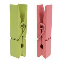 Drewniane klipsy kolorowe 7,2 cm 48p