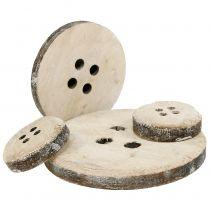 Guzik dekoracyjny drewniany biały płukany 15szt.