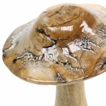 Grzybek drewniany szkliwiony natura/biały H20cm