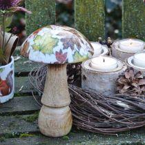 Drewniany grzyb dekoracja jesień liście biały, kolorowy grzyb dekoracja stołu Ø10cm H15cm