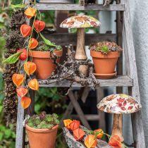 Drewniana dekoracja grzybowa Jesienne liście biała, kolorowa dekoracja jesienna Ø13cm H19cm