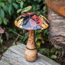 Drewniany grzyb Deco Kolorowe Liście Jesień Dekoracja czarna, kolorowa Ø13cm H19cm