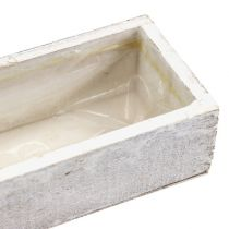 Drewniana misa do sadzenia roślin biała 30cm x 9cm x 6cm