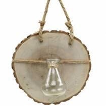 Krążek drewniany z wazonem szklanym do zawieszenia Ø22cm