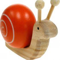 Drewniane ślimaki do dekoracji, wiosenne, ogrodowe ślimaki zielono-pomarańczowe, dekoracja stołu 6szt.