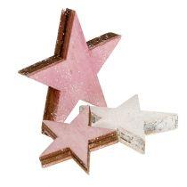 Gwiazdki drewniane 3-5cm różowo-białe z brokatem 24szt.