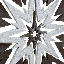 Drewniana gwiazda do zawieszenia w kolorze szarym, białym 48 cm x 40 cm