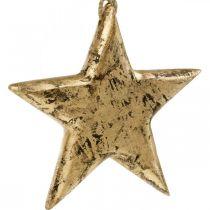 Gwiazda do zawieszenia, drewniana dekoracja z efektem złota, Advent 14cm × 14cm