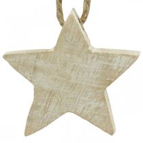 Drewniana gwiazda ozdoba choinkowa natura, biała płukana 5cm 36szt.