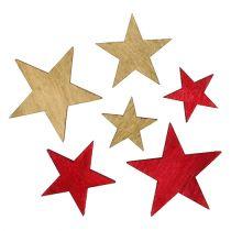 Gwiazdy drewniane 3-5cm natura/czerwone 24szt.