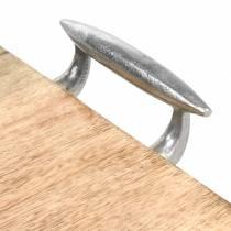 Drewniana taca z uchwytami mango, metal naturalny, srebro 46 × 25cm