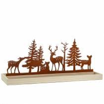 Drewniana taca las ze zwierzętami 50cm x 17cm