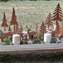Drewniana taca las ze zwierzętami 35cm x 15cm