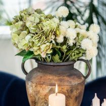 Hortensja Bukiet Sztuczny Zielony, Brązowy 5 Kwiatów 48cm