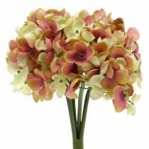 Hortensja Kwiaty sztuczne różowe, żółte 28cm