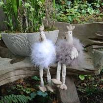 Dekoracje wielkanocne para kurczaków, siedzisko skrajne, wiosenne, dekoracyjne kurczaki z piórami 2szt.