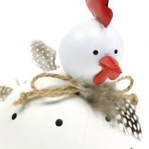 Figurka dekoracyjna kurczak biała w kropki i piórka H13cm