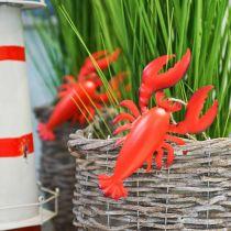 Wisiorek ozdobny homar metalowy czerwony 11,5x21,5cm 3szt