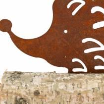 Jeż ze stali nierdzewnej na drewnianej podstawie 14,5cm x 17,5cm