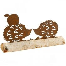 Rdzawy jeż dekoracja z kory brzozowej metalowa dekoracja jesienna 20×4cm H10,5cm