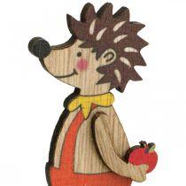 Jeż z grzybami, jesienna figurka, para drewnianych jeży żółty/pomarańczowy H11cm L10/10,5cm Zestaw 2 szt.