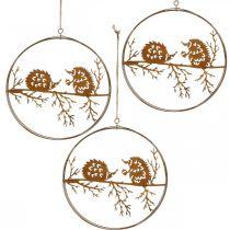 Zawieszka metalowa, jeż na gałęzi, dekoracja jesienna, pierścionek ozdobny, stal nierdzewna Ø15,5cm 3szt.