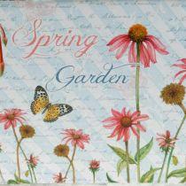 Jardiniere Planter Box z uchwytami Metal Flowers Spring Decoration 23×14×11cm