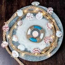 Sznur jutowy z muszlami i diodami LED 200cm dekoracja restauracja rybna