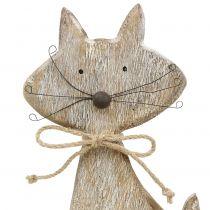 Figurka drewniana natura kot, biała 37cm