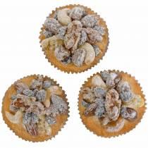 Muffinki z orzechami sztuczne 7cm 3szt.