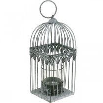 Dekoracja na świecę, klatka na ptaszka z kieliszkiem na tealight, lampion metalowy, dekoracja ślubna, lampion 22cm