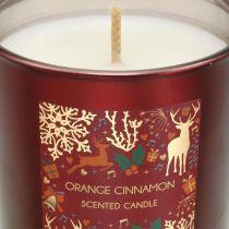 Świeca Zapachowa Świąteczna Pomarańcza, Cynamon Świeca Szklana Czerwona Ø7/ H8cm