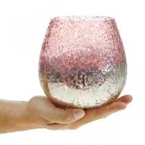 Lampion szklany, świecznik, dekoracja stołu, świeca szklana różowa/srebrna Ø15cm H15cm