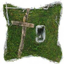 Poduszka mech i winorośl z krzyżem do aranżacji grobu 25x25cm