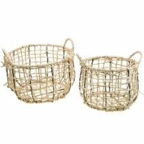 Kosz wiklinowy z trawy morskiej, kosz dekoracyjny, kosz do przechowywania, kosz z uchwytem okrągły Ø36/28 Zestaw 2 szt.