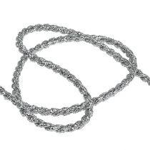 Taśma sznurkowa srebrna 4mm 25m