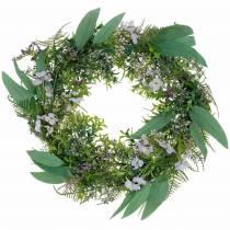 Wieniec dekoracyjny eukaliptus, paproć, kwiaty Wieniec sztuczny Wieniec na stół