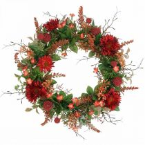 Jesienny Wianek Jedwabne Kwiaty Czerwone Gerbera Oset Wianek drzwiowy Ø42cm