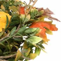 Wianek jesienny liście sztuczne zielony, żółty, pomarańczowy Ø45cm