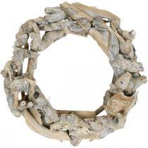 Wieniec Deco Wood Root Wieniec White Washed Ø35cm H9cm